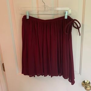 Hollister Maroon Skater Skirt with Tie